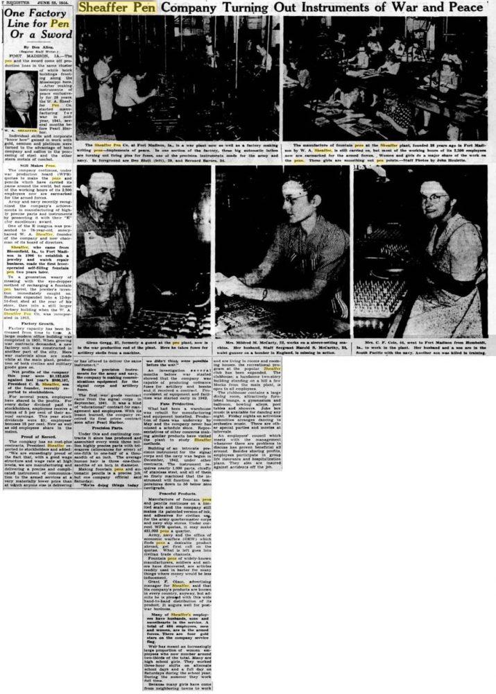 1941 06 00 Manufacturing for war Sheaffer_sales_ventas_WW_Lazard