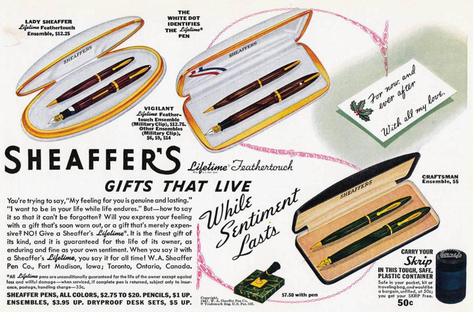 1941 sheaffer ad