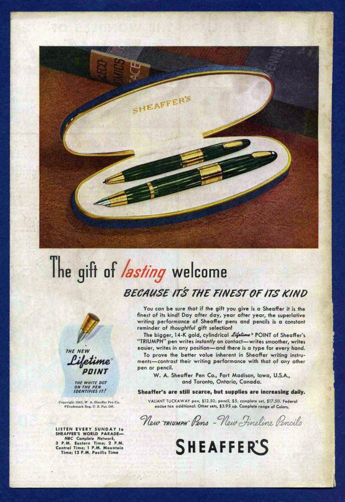 1945 SHEAFFER AD