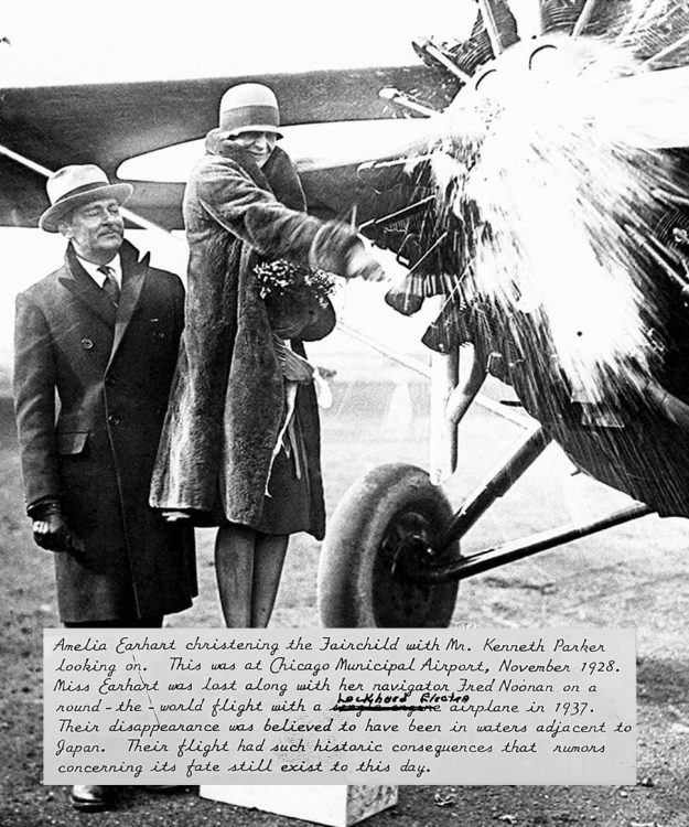 Amelia Earhart christening the Parker Duofold plane in the presence of Kenneth Parker (5).