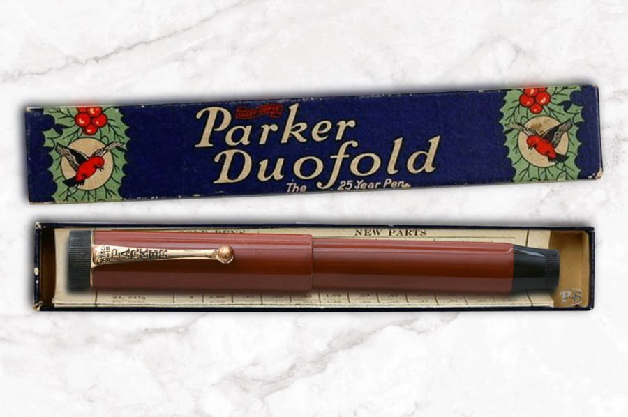 Parker Duofold cap bandless Pompeian Brown hard rubber. C. 1922.