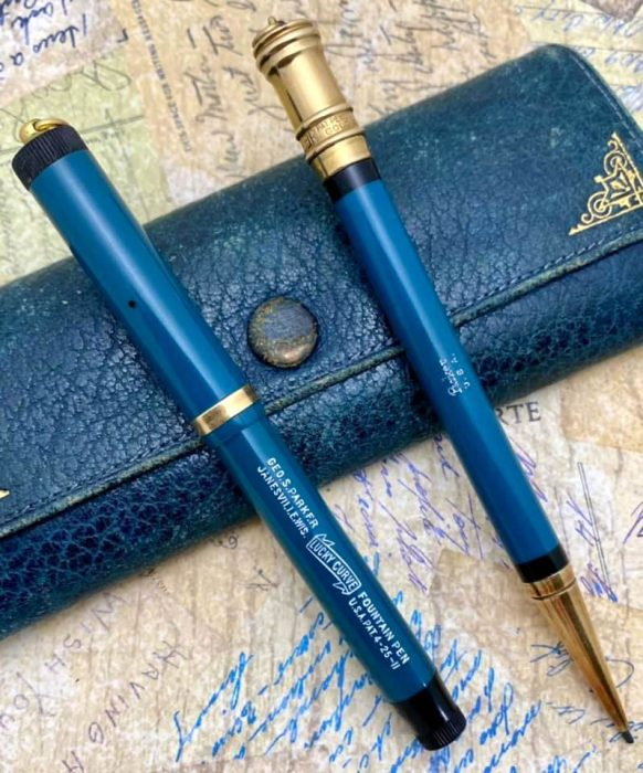 Parker Penvelope with Pastel Naples blue set. It was $8.00. Pen and pencil Courtesy of Paul Kovanda.