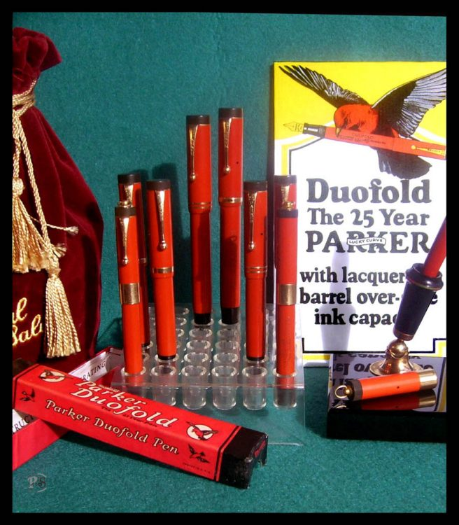 Parker Duofolds furnished in Permanite celluloid. Circa 1925.