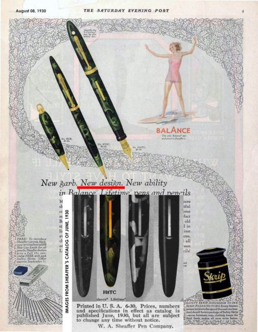 Sheaffer´S Balance new design. 1930 ad.